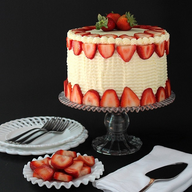 Chocolate Vanilla Strawberry Swirl Cake