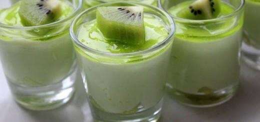 Mousse au chocolat blanc coulis au kiwi