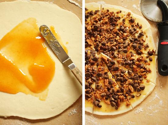 Petits croissants orange chocolat noisettes2