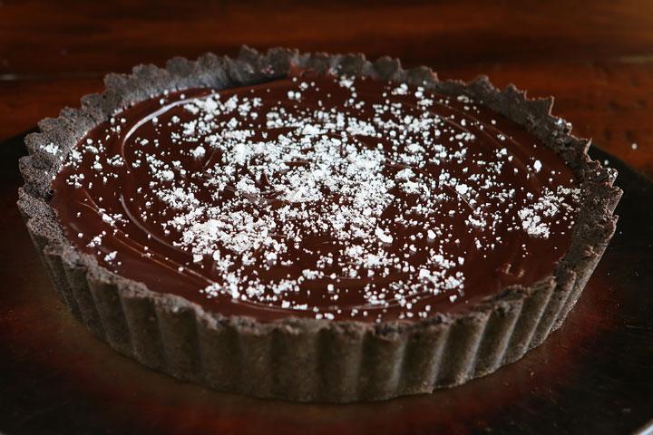 Tarte au chocolat et caramel beurre salé1
