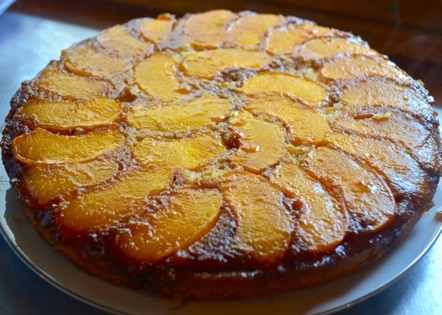 Gâteau renversé aux pêches1