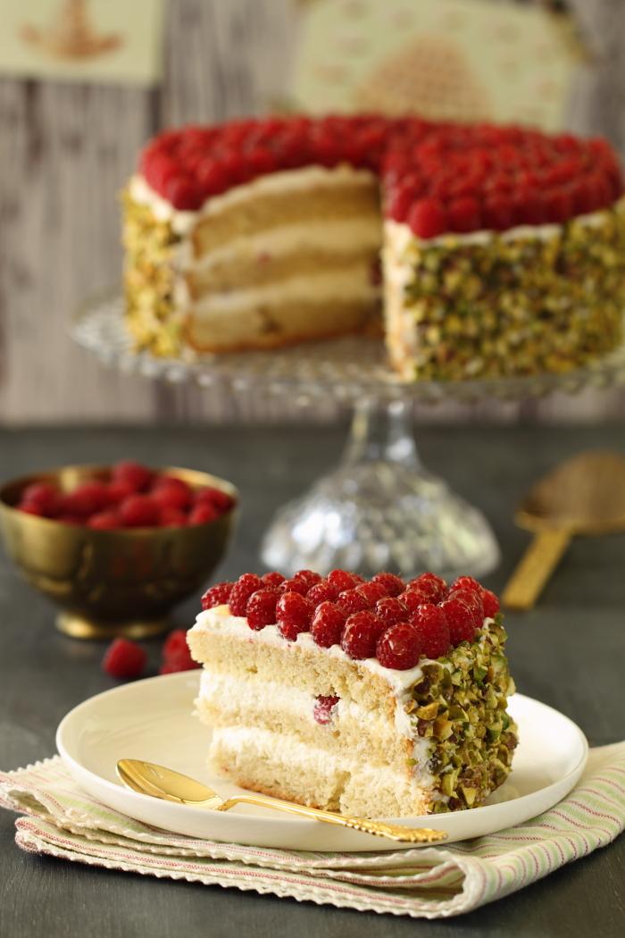 Gâteau aux framboises et pistache8