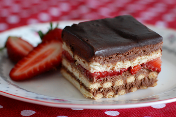 Gâteau petits beurre chocolat et fraises1