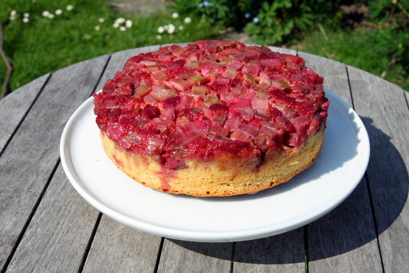 Gâteau renversé fraises-rhubarbe1